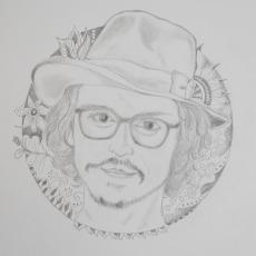 ジョニーデップのエンピツ画
